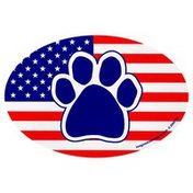 Imagine This Oval Us Flag Paw Car Magnet