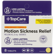 TopCare Less Drowsy Formula Motion Sickness Relief Meclizine Hcl 25 Mg-Antiemetic Tablets