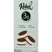 Rebel Ice Cream Sandwich, Double Chocolate Cookies & Mint Chip