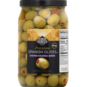 First Street Spanish Olives, Premium, Stuffed Colossal Queen