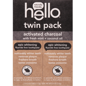 hello Toothpaste, Fluoride Free, Epic Whitening, Activated Charcoal, Twin Pack