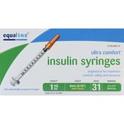 Equaline Insulin Syringes, Short Needle, 1 cc