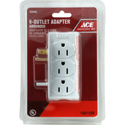 Ace Adapter, White, 6-Outlet, Grounded