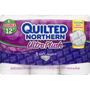 Quilted Northern Bathroom Tissue, Unscented, Double Roll, 3-Ply
