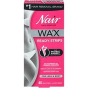 Nair Hair Remover Wax Ready- Strips For Legs & Body, 40 Ct
