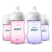 Philips Avent Avent Natural Bottle Pink/Purple Promo 9oz, 4pk SCF013/42