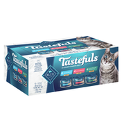 Blue Buffalo Tastefuls Natural Pate Wet Cat Food Variety Pack, Salmon, Chicken, Ocean Fish & Tuna Entréess (12 count - 4 of each flavor)