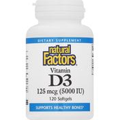 Natural Factors Vitamin D3, 125 mcg, Softgels