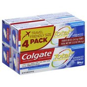 Colgate Toothpaste, Advanced Whitening, Travel Friendly Size, 4 Pack
