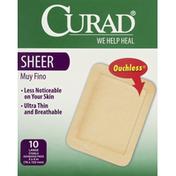 CURAD Bandages, Sterile, Adhesive Pads, Sheer, Large