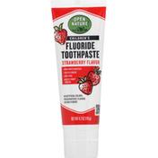 Open Nature Toothpaste, Fluoride, Strawberry, Children's