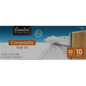 Essential Everyday Compactor Bags, Twist Tie, 20 Gallon