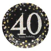 Amscan Plates, Sparkling Celebration 40, 7 Inch