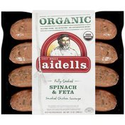 Aidells Organic Smoked Chicken Sausage, Spinach & Feta, 12 oz. (4 Fully Cooked