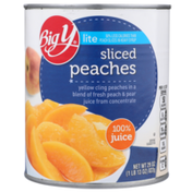 Big Y Lite Sliced Yellow Cling Peaches In A Blend Of Fresh 100% Peach & Pear Juice From Concentrate