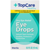TopCare Dry Eye Relief Natural Tears Formula Soothes, Protects & Moisturizes Sterile Drops