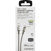 Scoche Charge & Sync Cable, USB-C to Lightning, Braided, 4 Feet