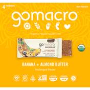 GoMacro Macrobars, Banana + Almond Butter, 4 Pack
