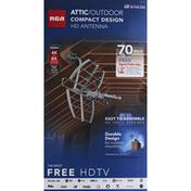 RCA HD Antenna, Attic/Outdoor, Platinum, Compact Design