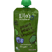 Ella's Kitchen Puree, Super Smooth, Pears Peas + Broccoli, 2 (from 6 Months)
