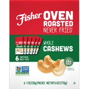 Fisher Whole Cashews, with Sea Salt, 6 Pack