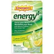Emergen-C Energy+ Fizzy Drink Mix Lemon Lime Packets, Energy+ Fizzy Drink Mix Lemon Lime Packets