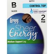 L'eggs Pantyhose, Control Top, Medium Support, Leg, Size B, Nude
