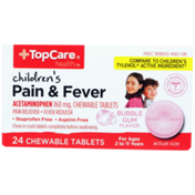 TopCare Children'S Pain & Fever Acetaminophen 160 Mg Pain Reliever/Fever Reducer Chewable Tablets, Bubble Gum