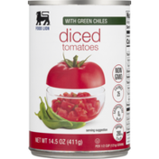 Food Lion Tomatoes, Diced, With Green Chiles, Can