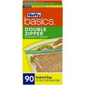 Hefty Double Zipper Sandwich Bags 90 ct Box Hefty Basics Double Zipper Sandwich Bags