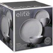 Gibson Elite Dinnerware Set, Stoneware, Milanto, Cream