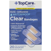 TopCare Antibacterial Waterproof First Aid Antiseptic Assorted Bandages, Clear