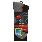 Hanes Socks, Active Cool, Crew, Men's, Black/Black with Colored Pattern