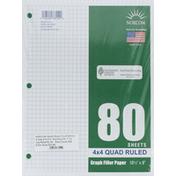 Norcom Filler Paper, Graph, 4 x 4 Quad Ruled