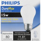 Philips Light Bulbs, Soft White, 15 Watts