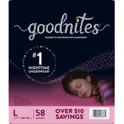 GoodNites Underwear, Nighttime, L (68-95 lbs), Girls