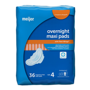 Meijer Maxi Pads with Flexi-Wings, Overnight Absorbency, Size 4