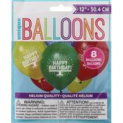 Unique Balloons, Happy Birthday, 12 Inch