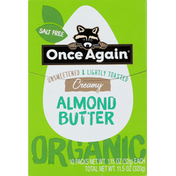 Once Again Almond Butter, Organic, Creamy, Unsweetened & Lightly Toasted, 10 Pack