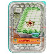 Handi-Foil Cake Pans, with Lids, Green