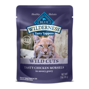 Blue Buffalo Wilderness High Protein Grain Free, Natural Wild Cuts Adult Wet Cat Food Pouch, Chicken