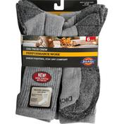 Dickies Socks, Grey, Dri Tech Crew, Men's