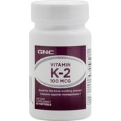 GNC Vitamin K-2, 100 mcg, Softgels