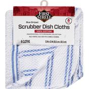 First Street Dish Cloths, Scrubber, Blue Striped