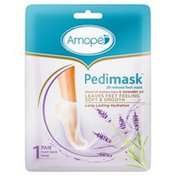 Amope® Pedimask Foot Sock Mask, Blend of Moisturizers Lavender Oil Essence