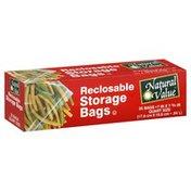 Natural Value Storage Bags, Reclosable, Quart Size