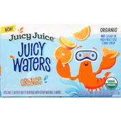 Juicy Juice Flavored Water Beverage, Organic, Orange, 8 Pack