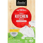 Essential Everyday Odor Protector Tall Kitchen Drawstring Bags