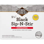 First Street Stirrers, Black, Sip-N-Stir, Unwrapped, 5-1/4 Inch