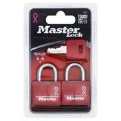 Master Lock Key Padlocks, 2 Pack, Pink, Blister Pack